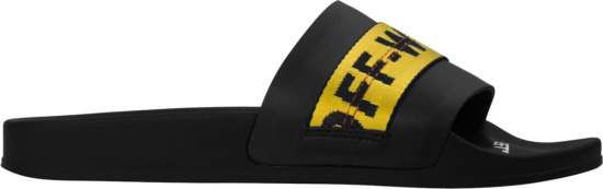 Off White Black Rubber Slides With Yellow Logo Strap