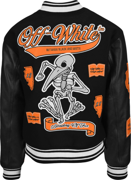 Off White Black White And Orange Dancing Bird Skeleton Varsity Jacket