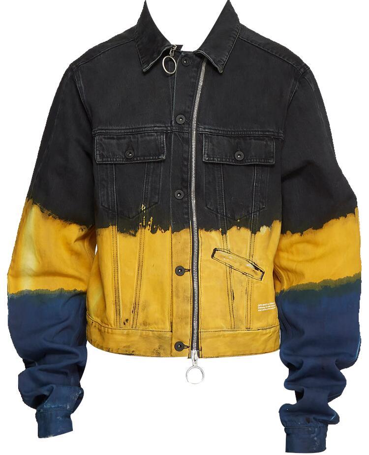 Off White Black Yellow And Blue Tie Dye Denim Jacket