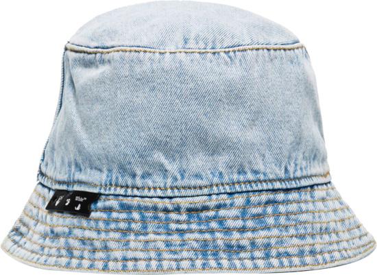 Off White Bleached Denim Bucket Hat
