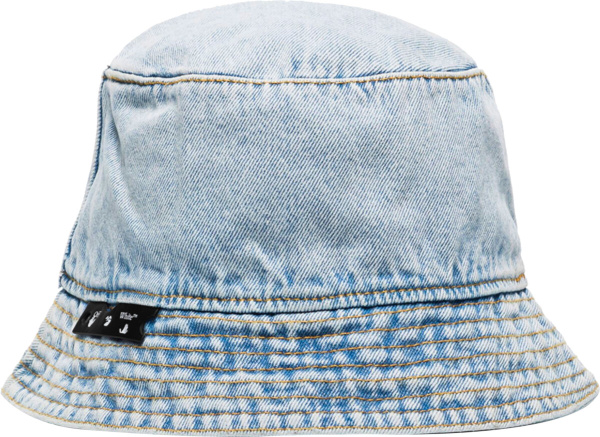 Off White Bleached Denim Bucket Hat