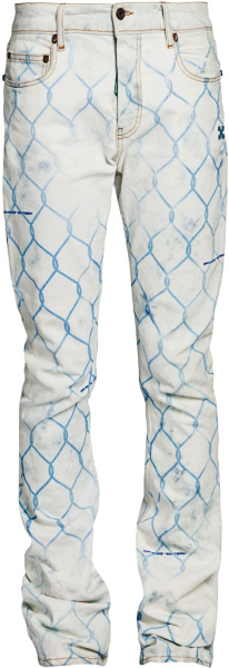 Off White Bleached Indigo And Light Blue Fence Print Jeans