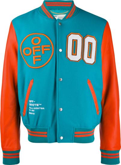 Off White Blue And Orange 00 Varsity Jacket