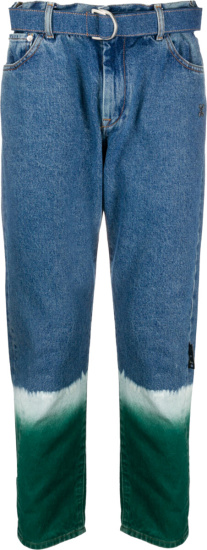 Off White Blue Bleached And Tie Dye Belted Jeans