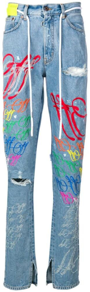 Off White Blue Denim Jeans With Multicolor Allover Logo Embroidery