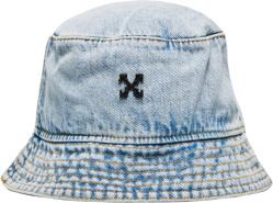 Off White Blue Faded Denim Bucket Hat