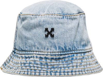 Off White Blue Faded Denim Bucket Hat
