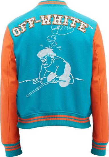 Off White Blue Orange Varsity Jacket
