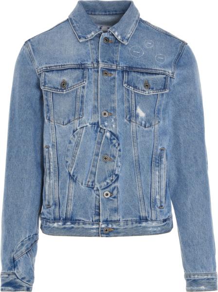 Off White Blue Twisted Arrow Denim Jacket