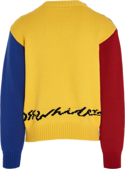 Off White Blue Yellow And Red Snake Sweater