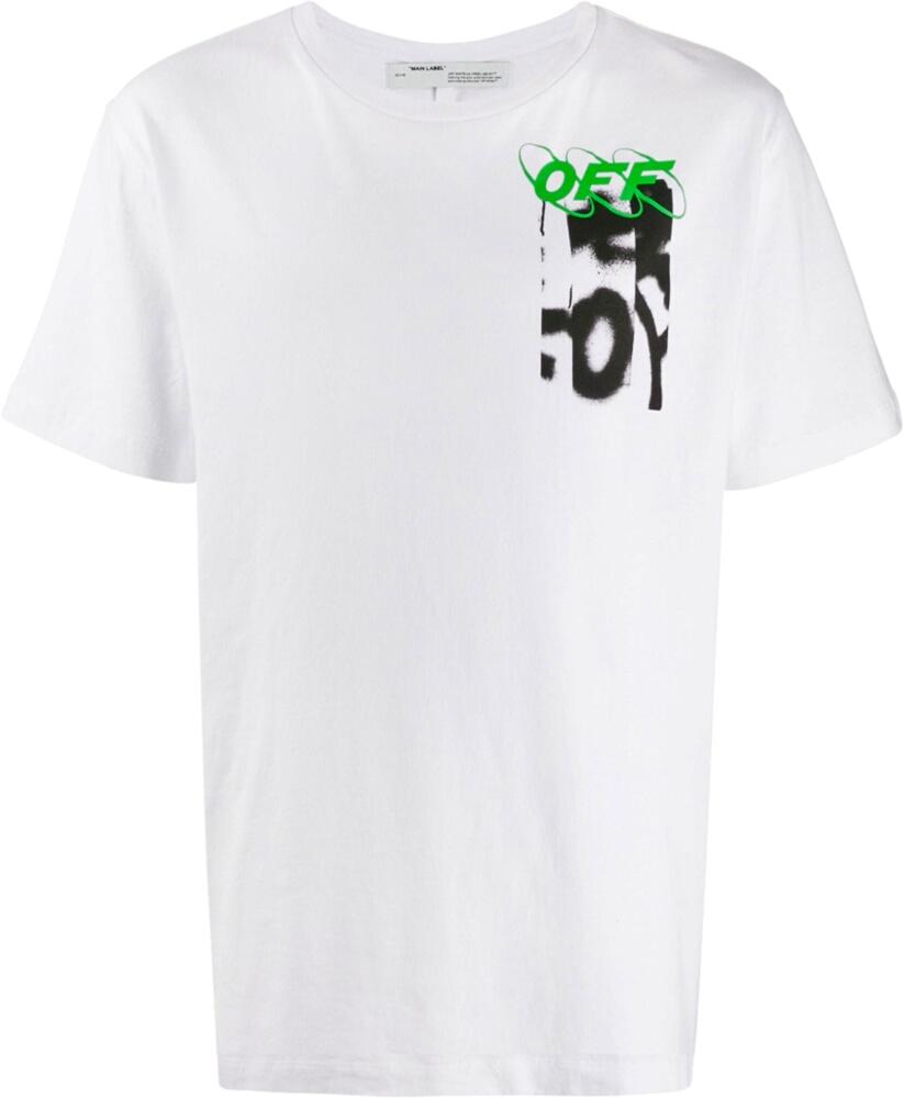 Off White Blurred Graffiti Print White T Shirt