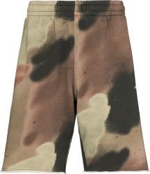 Brown & Green Camo Stencil-Logo Shorts