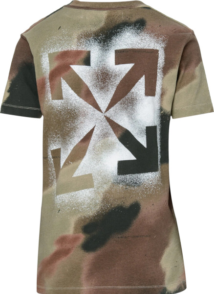 Off White Camouflage Spray Paint Logo T Shirt