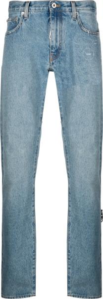 Off White Cobalt Blue Cut Here Logo Jeans