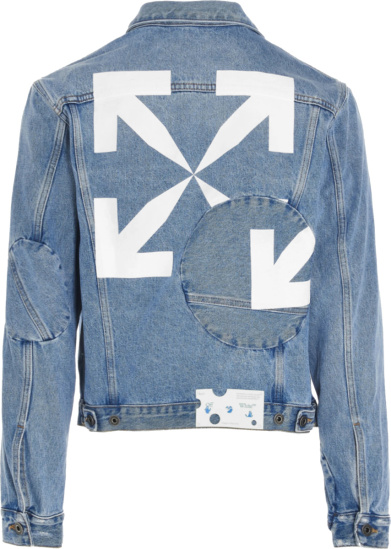 Off White Cobalt Blue Twisted Denim Jacket