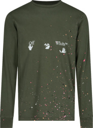 Off White Dark Green Paint Splatter Hands And Face Logo Long Sleeve T Shirt