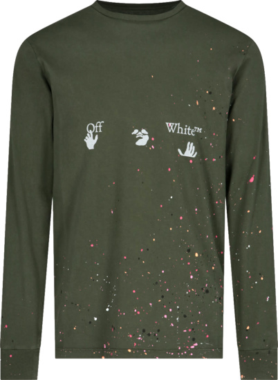 Off White Dark Green Paint Splatter Hands And Face Logo Long Sleeve T Shirt