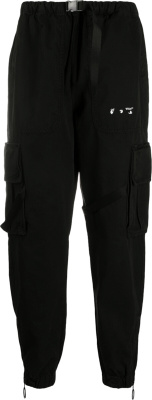 Off White Face & Hand Logo Print Black Cargo Pants