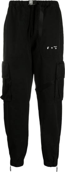 Off White Face & Hand Logo Print Black Cargo Pants
