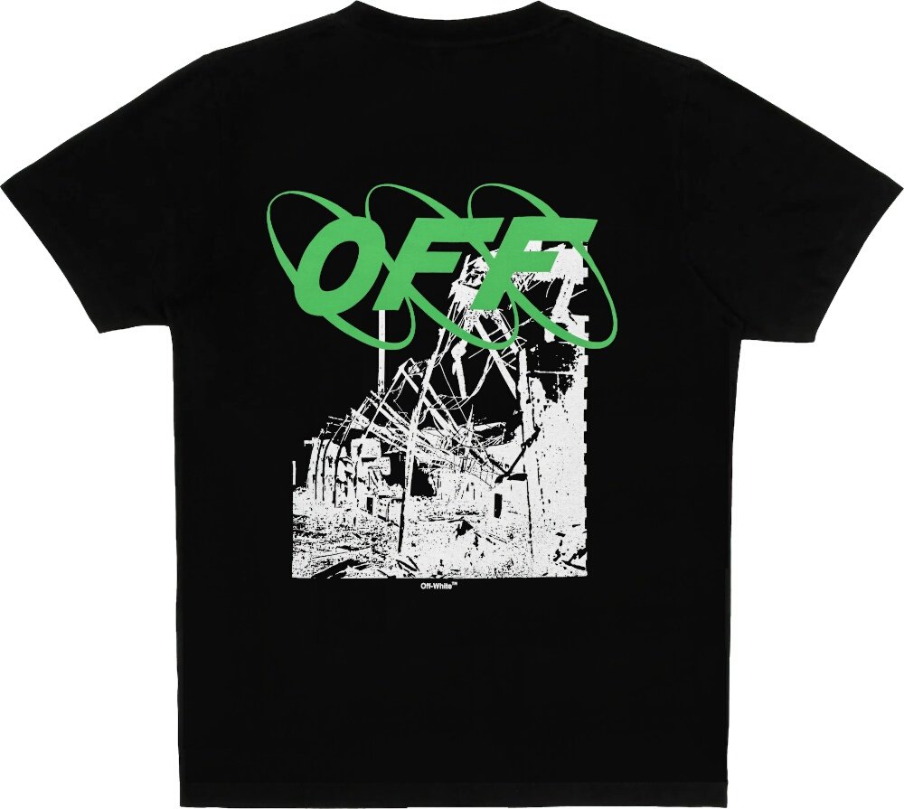 'Ruined Factory' Print Black T-Shirt