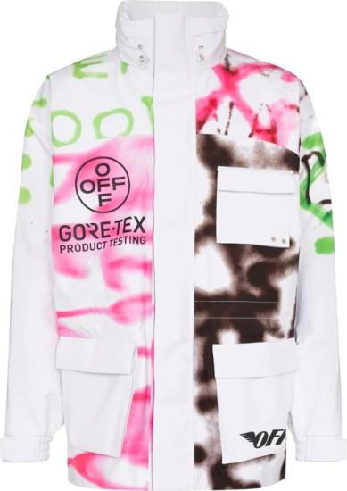 Off White Goretex Griffiti Print White Jacket