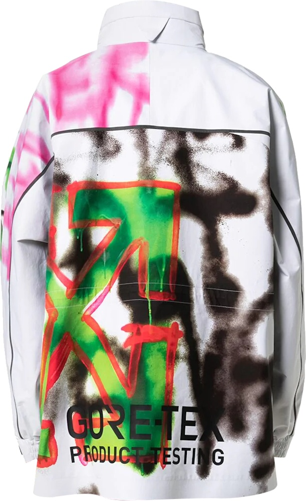 Graffiti Print White Goretex Jacket