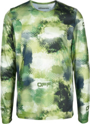 Off White Green Abstract Camo Long Sleeve T Shirt