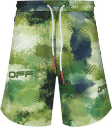 Off White Green Abstract Camo Shorts