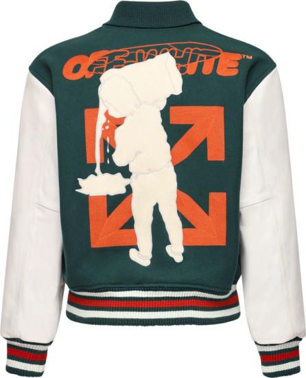 Off White Green And Orange Varsity Jacket