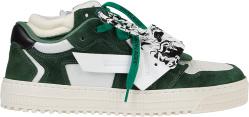 Off White Green And White Suede Floating Arrow Sneakers
