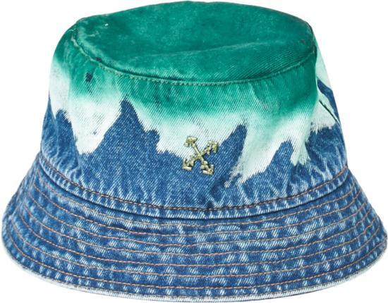 Off White Green Blue Denim Bucket Hat