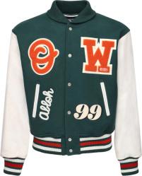 Off White Green Orange Varsity Patch Bomber Jacket