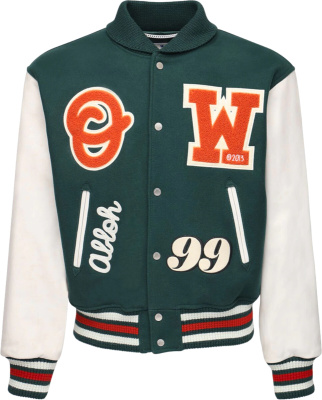 Off White Green Orange Varsity Patch Bomber Jacket