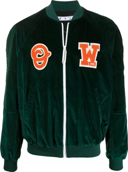 Off White Green Velvet Bomber Jacket