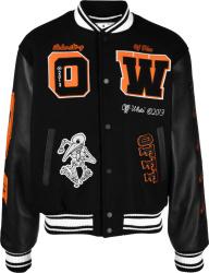 Off White Grey Black And Orange Bird Skeleton Varsity Jacket