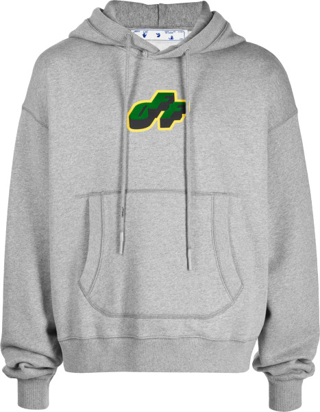 Off White Grey Green And Yellow Cartoon Arrows Print Hoodie