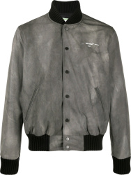 Off White Grey Tie Tye Bomber Jacket