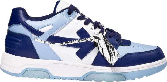 Off White Light Blue And Navy Ooo Sneakers