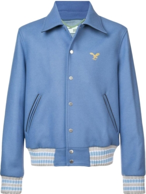 Off White Light Blue Varsity Jacket