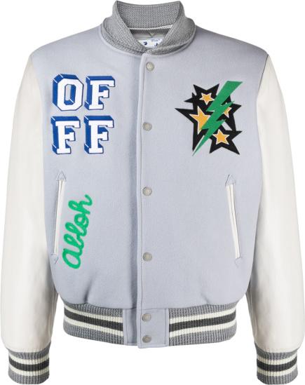Off White Light Grey And White Lightning Star Magician Varsity Jacket