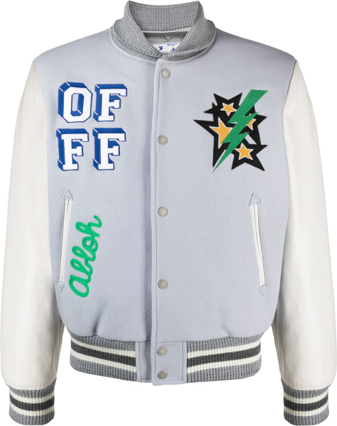Off White Light Grey And White Lightning Star Magician Varsity Jacket