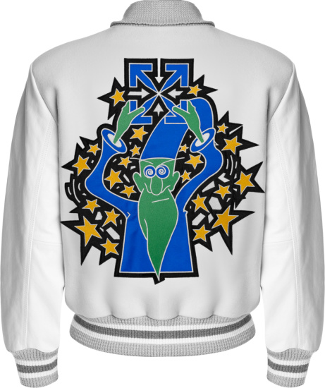Off White Light Grey And White Wizard Star Varsity Jacket