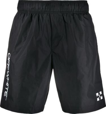 Off White Logo Print Black Swim Shorts