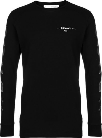 Off White Long Sleeve Diag 3d Lines T Shirt