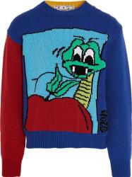 Off White Multicolor Colorblock Snake Sweater