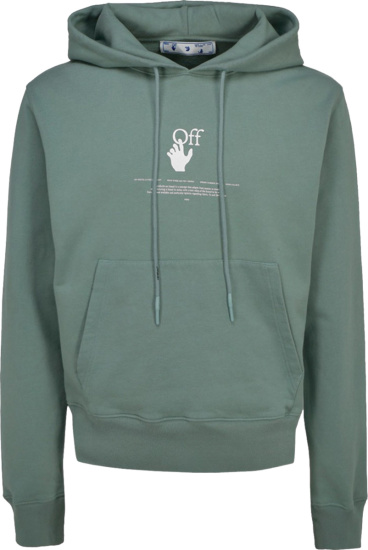 Off White Muted Green Graffiti Hand Off Logo Hoodie