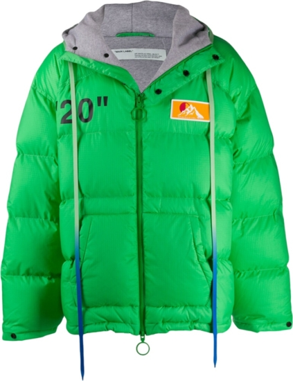 Off White Neon Green Puffer Jacket