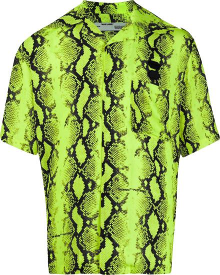 Off White Neon Yellow Snakeskin Print Shirt