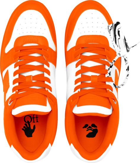 Off White Orange And White Ooo Sneakers