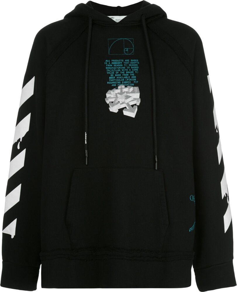 Off White Paint Drip Print Black Hoodie